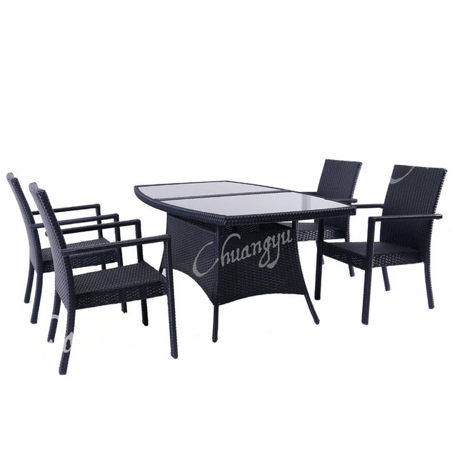 High Quality Pe Wicker Patio Furniture Gl Top Outdoor Dining Set