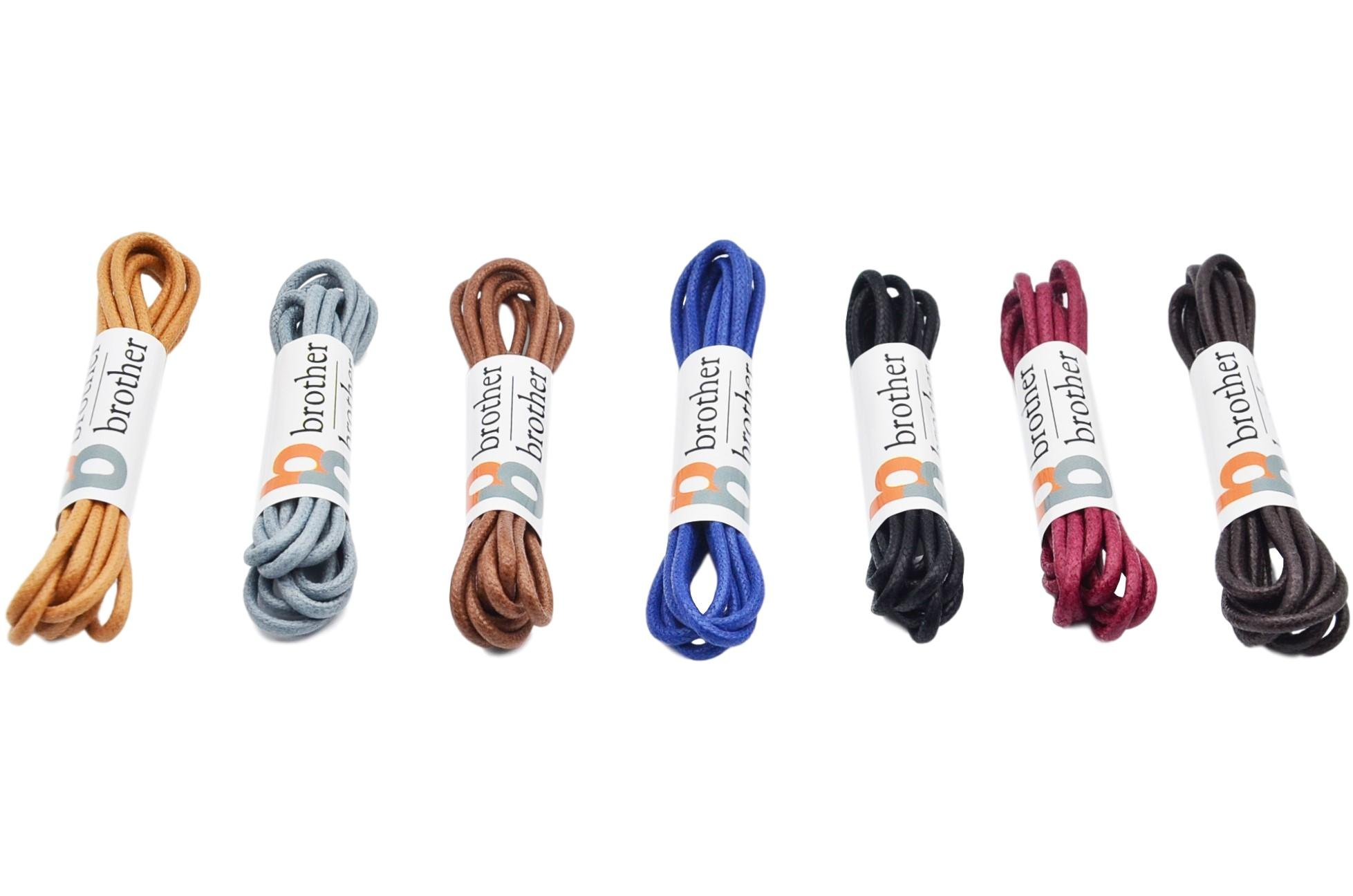 Brother Brother Colored Oxford Shoe Laces for Men (7 Pairs) | 100% Cotton Round and Waxed Shoelaces for Dress Shoes | Gift Box with Black, Burgundy, Brown, Dark Brown, Tan, Gray, and Blue Shoe Strings