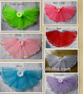 Wholesale 2layer cheap stock romantic birthday flower tutus for girls