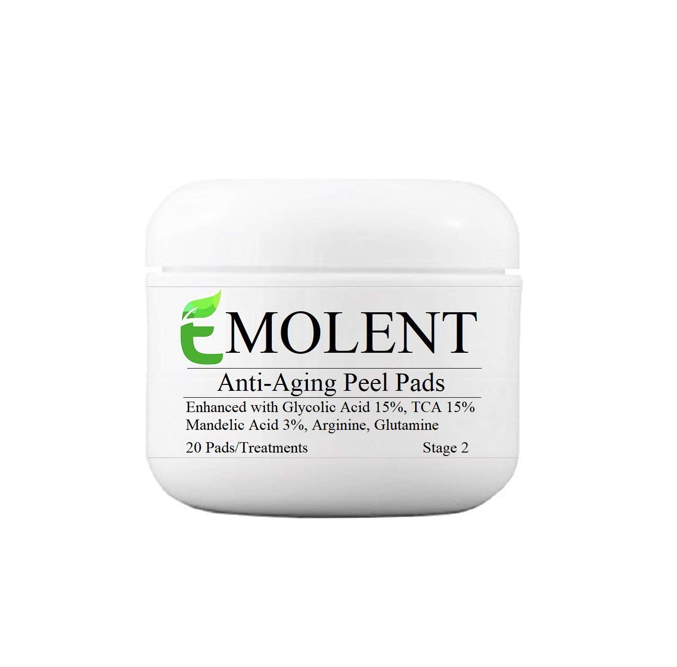 EMOLENT, Anti-Aging Peel Pads Enhanced with Glycolic Acid 15%, TCA 15%, Mandelic Acid 3%, Arginine, Glutamine, 20 Pads/Treatments