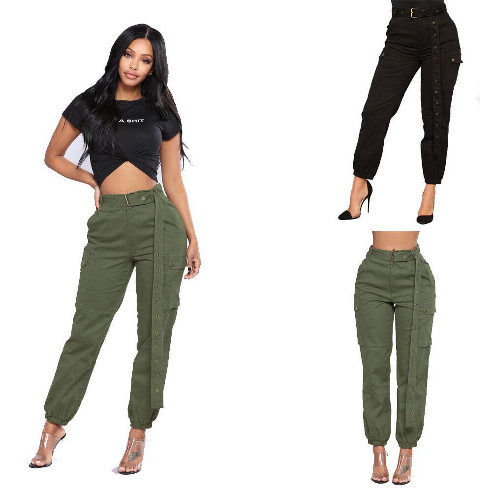 Baile Hip Pop Capris Pantalones Las Mujeres Cinturon Verde Del Ejercito Negro Pantalones Harem De Color Suelto Casual Cintura Alta Pantalones De Carga Sin Cinturon Buy Las Mujeres Cinturon Verde Del