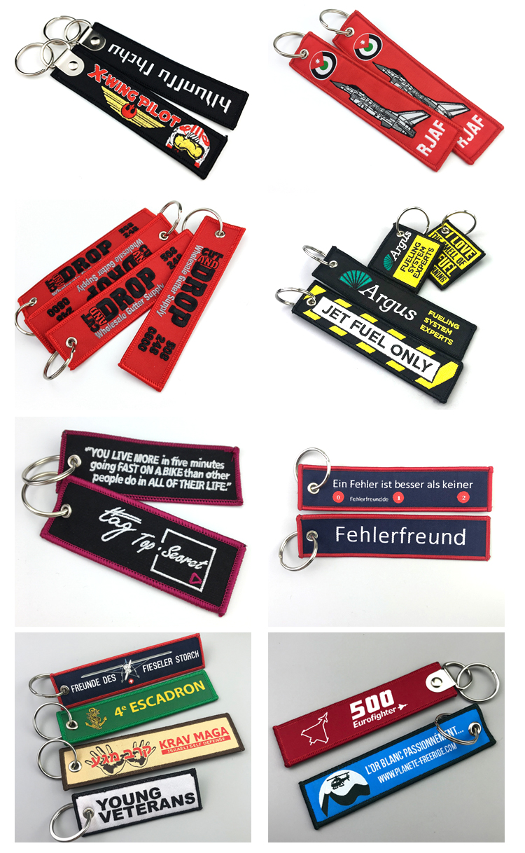 China Supplier Custom embroidery lanyard keychain,custom woven keychain embroidery key tags