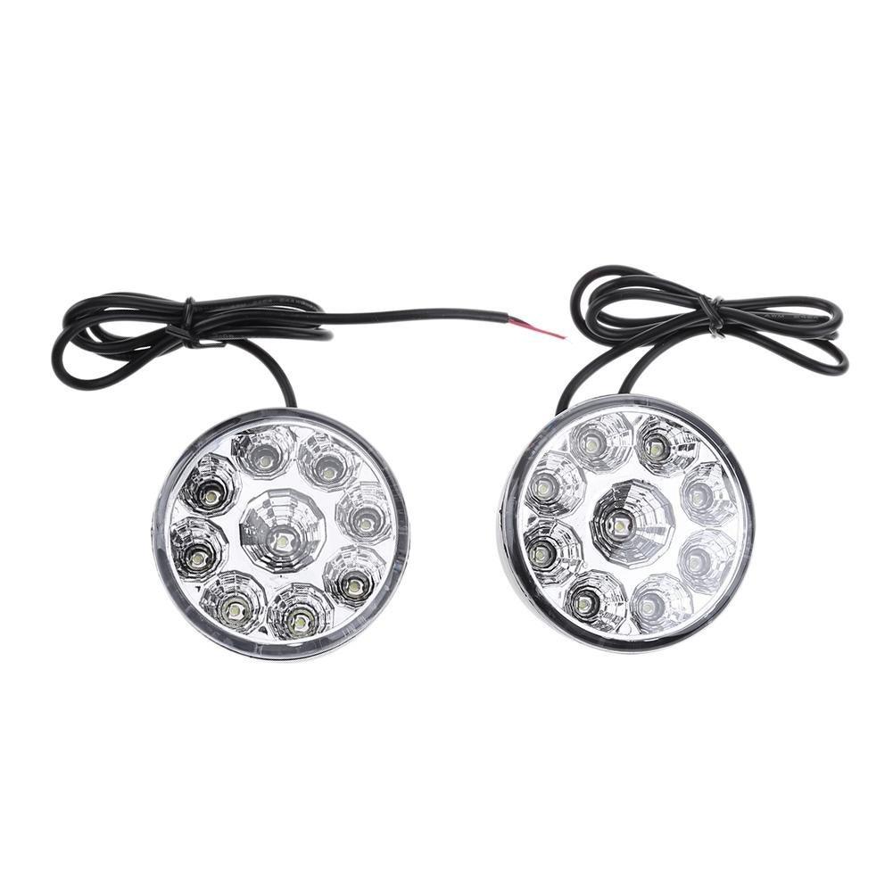 Occitop 2pcs Round 9-LED Car Fog Lamp Driving Daytime Running Light Headlights