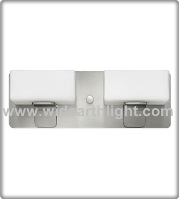 UL CUL Listed Modern Hotel Bath Brushed Nickel 2 Lamps Double Glass Wall Lights Sconces W60311