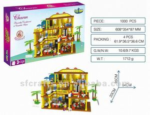 Intelligence plastic villa 1000pcs building blocks toys