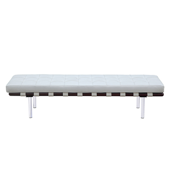Faux Leather Upholstered Bench Daybed Foam Padded Light