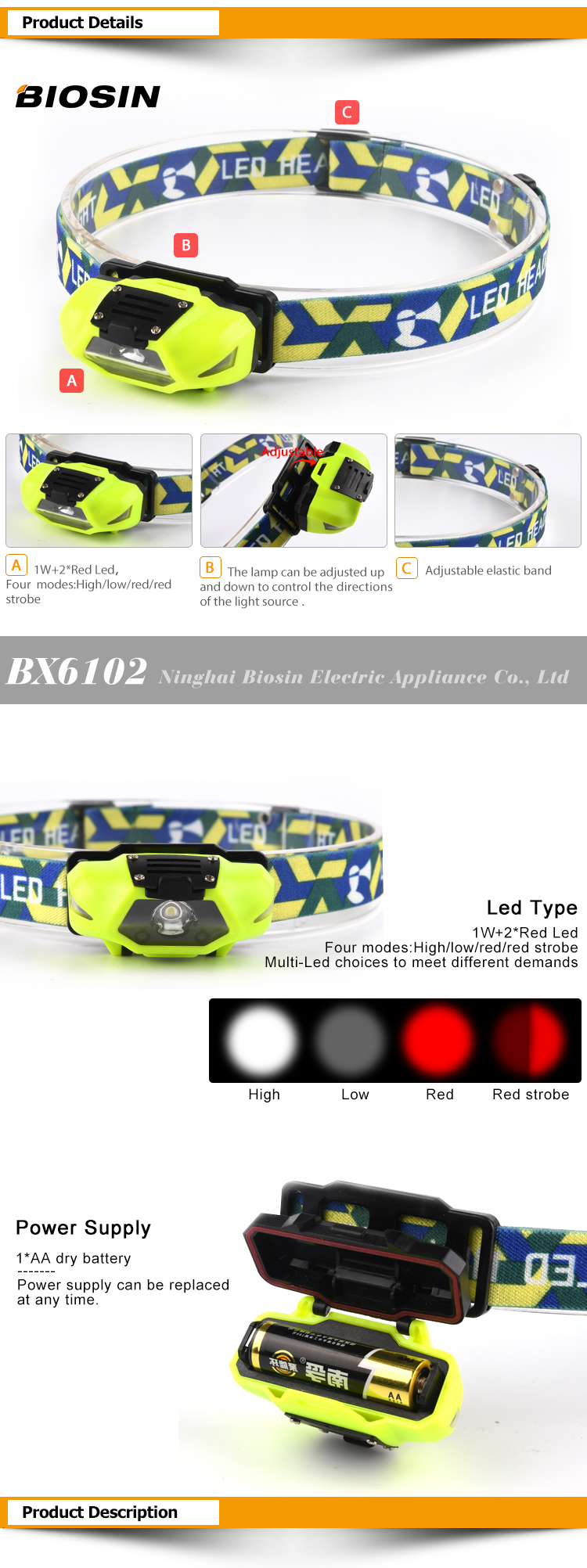 BIOSIN hot sale abs 1watt 1*led + 2*red led compact design dry battery head lamp