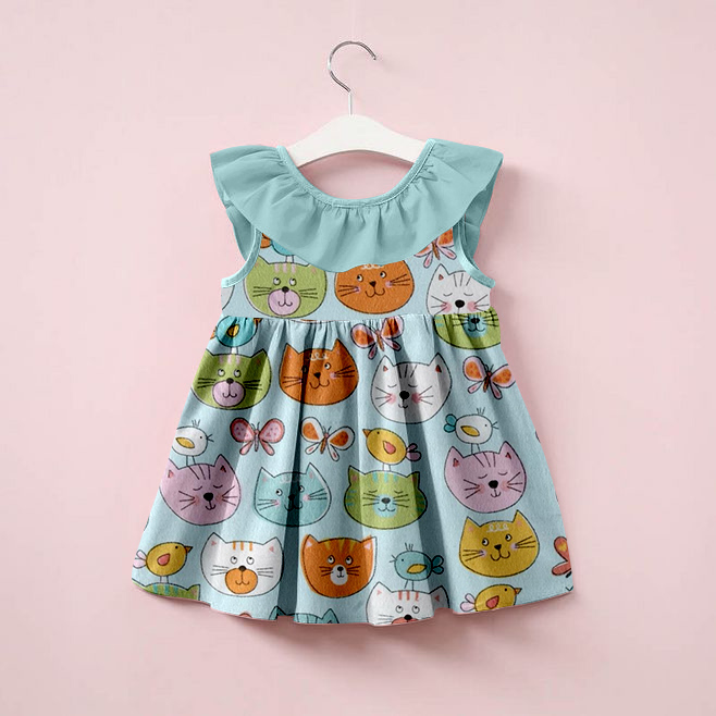 New arrival 2018 summer boutique clothing made in china factory cat pattern casual dress