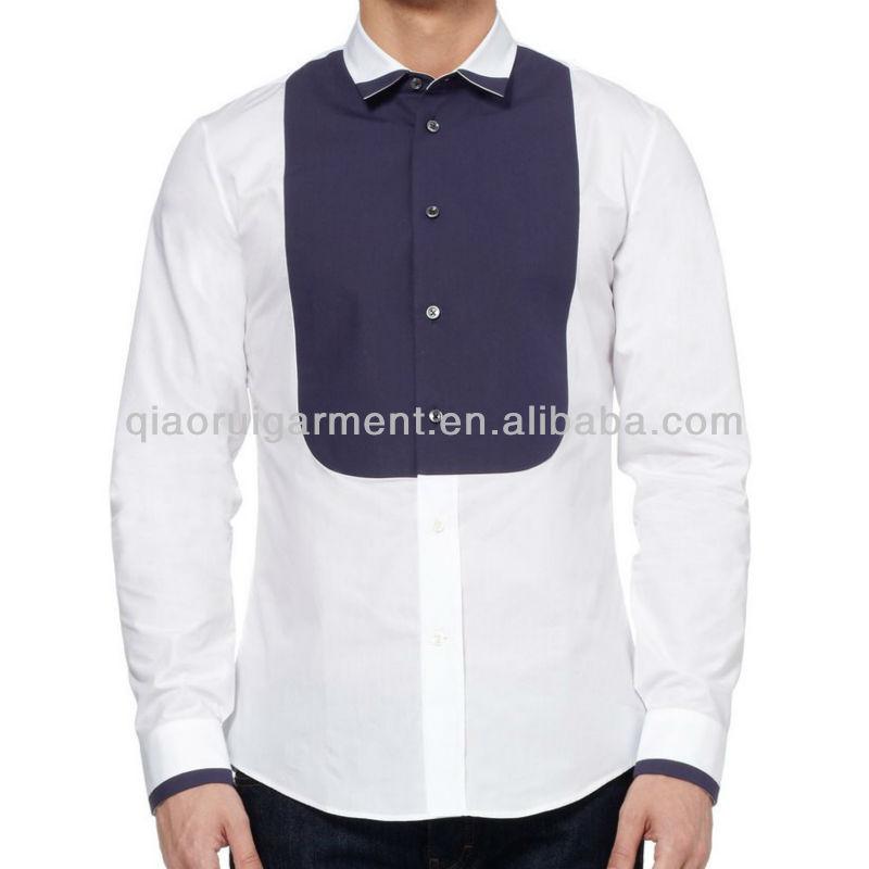 Préférence Mens Haute Mode Aile Collier Bib Avant Blanc Formelle Chemise  HO43
