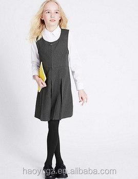 45ee2358a02e Wholesale hot sales school uniform dress grey color pinafore design for  girls