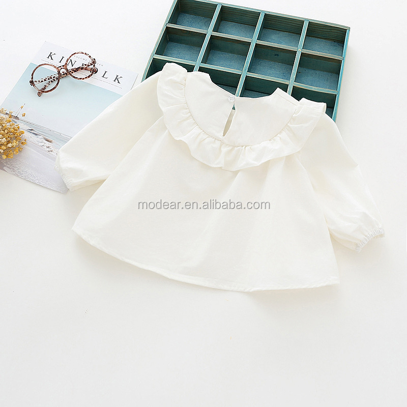Wholesale autumn girl doll shirt pure color long sleeve baby cotton t shirt
