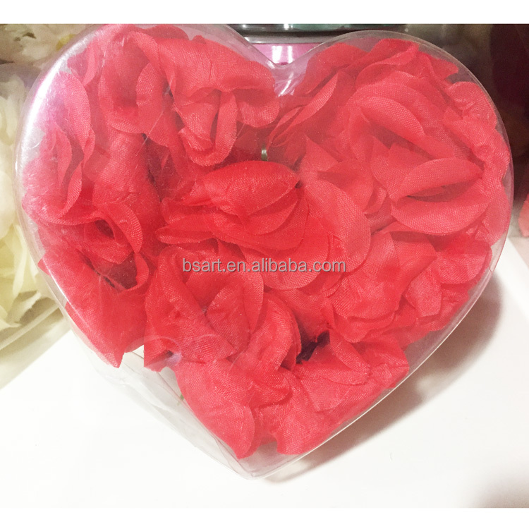Red silk rose petals for wedding