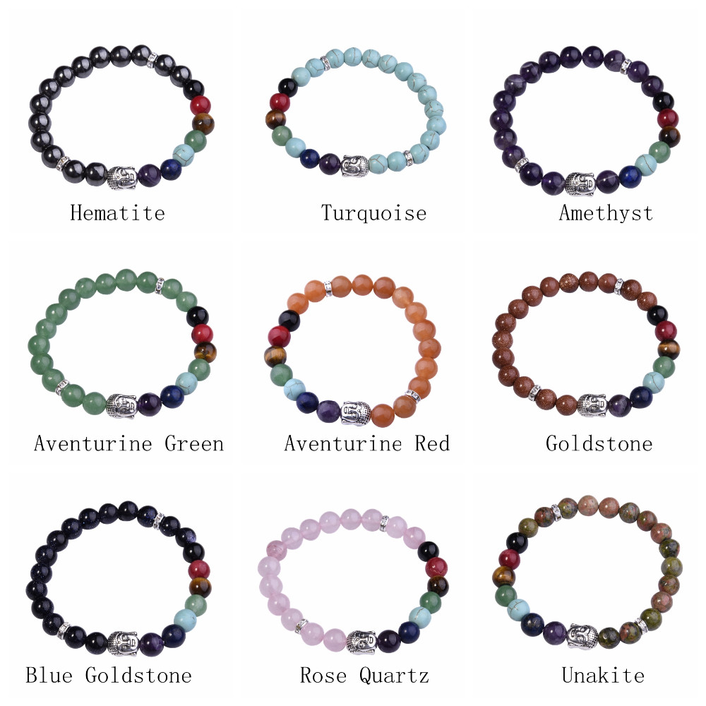 Fashion Gemstone 8MM Round Beads Alloy Buddhism Head Bracelet 7 Chakra Semi Precious Stone Buddha Women Men Prayer Jewelry