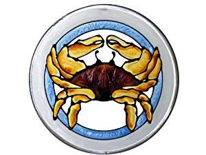 Silver Creek Crab Dungeness, X-419 Art Glass