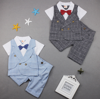 8cef85c86bf7 Baby Boys Boutique Clothing Handsome Grid Short Sleeve Sets For 1-4 ...