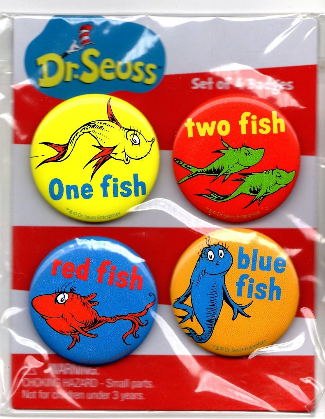 Dr Seuss Set of 4 Badges (Buttons) One Fish, Two Fish, Red Fish, Blue Fish 1.5""
