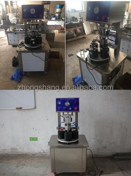 2019 semi automatic rotary glass jars vacuum capping machine for 4 kinds of cans