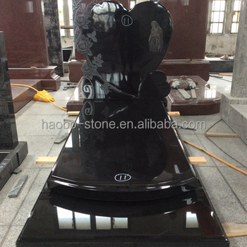 China Haobo Stone Good price new modern Carved Rose Polished Black Granite Heart funeral grave monument for French market