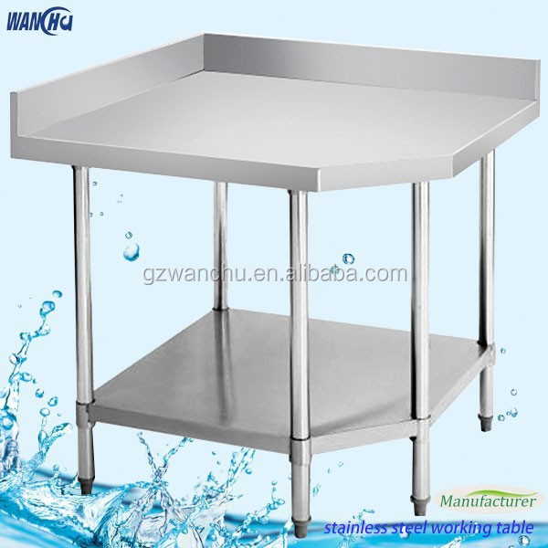 Food Grade Stainless Steel Kitchen Corner Worktable With Double - Food grade stainless steel table