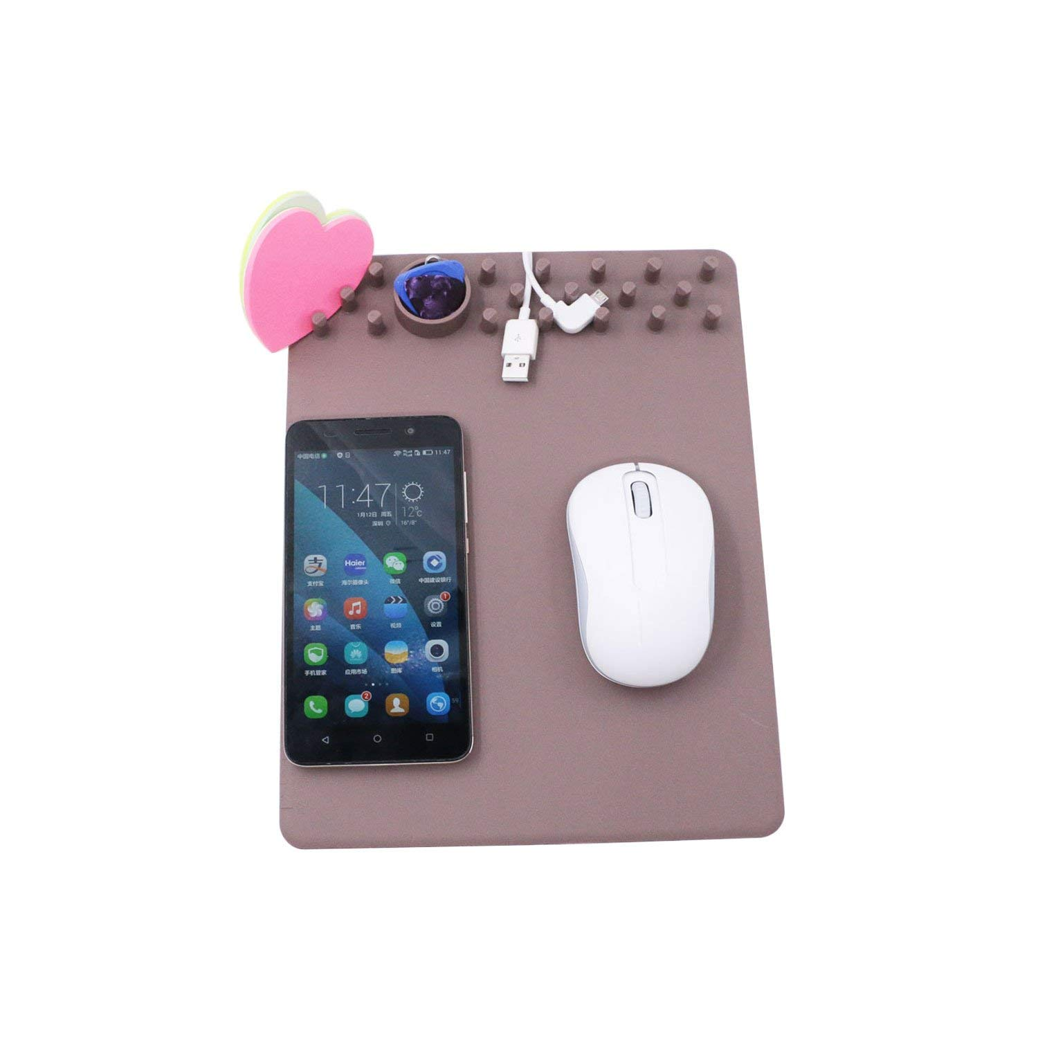 Wireless Mouse Pad Charger,5W QI Wireless Charging Mouse Pad for iPhone X,iPhone 8 8 Plus, Samsung Note 8,S8,S7,S6/Edge,Nexus 5/6/7 (light brown)