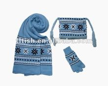 charming knitted kids hat and scarf glove set