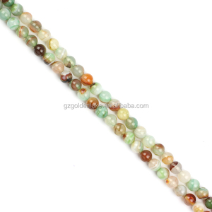 Charm Gemstone Agate Stone Mixed Green Color Stripe Agate Plain Round Beads
