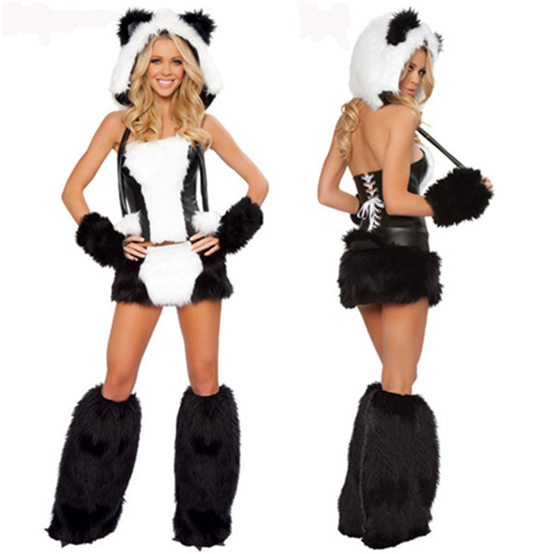 Sexy Plush Halloween Panda Costumes Outfit Women Fancy Cosplay Uniforms Jumpsuit Tights Nightclubs 5 Sets Theme Party Costumes