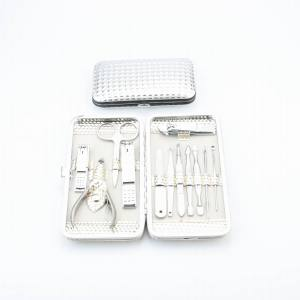 Amazon Hot sale Glitter surface 12pcs Manicure Set Pedicure Set Gift Beauty Nail Tools Set