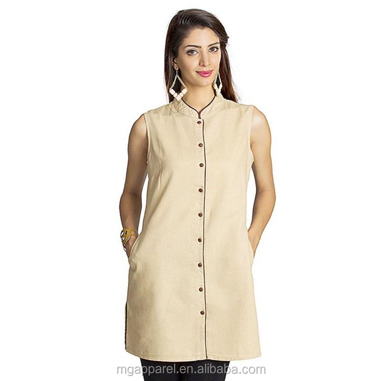 439b0bb270f india wholesale cotton tunic women tunic top mandarin collar dress shirt  beige sleeveless tunic shirt