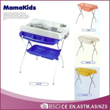 Folding Baby Bath Changing Table CE Standard Safety Plastic Baby Changing  Table
