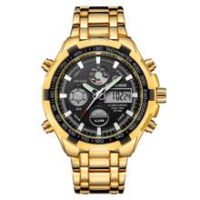 Часы GOLDENHOUR мужские, армейские, спортивные, цифровые, аналоговые, кварцевые из серебристой стали(Китай)