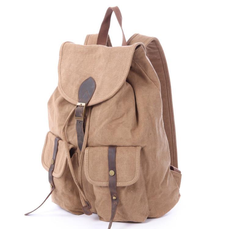 Unisex Canvas Bag High Quality Vintage Fashion Casual Canvas Crazy Horse  Leather Women Men Backpack Shoulder School Bag Rucksack bcf2354b96d71