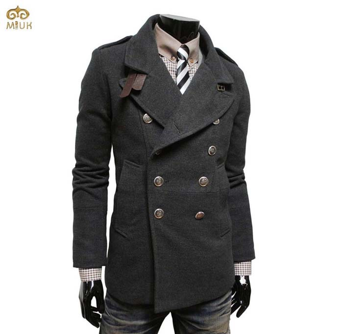 xtsrkbg Mens Notched Lapel Long Sleeve Double Breasted Trench Jacket
