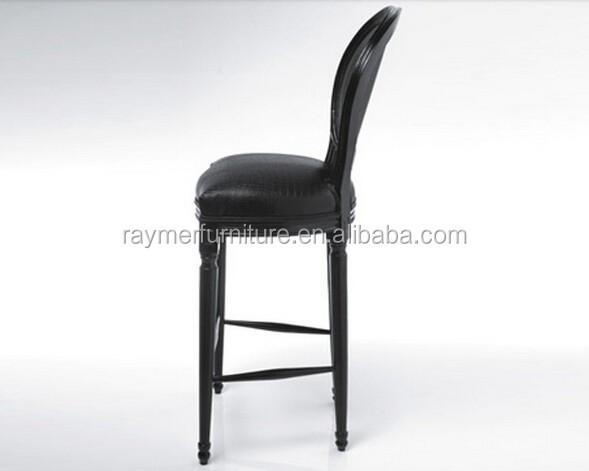 Vintage classico nero in vera pelle sgabello da bar industriali