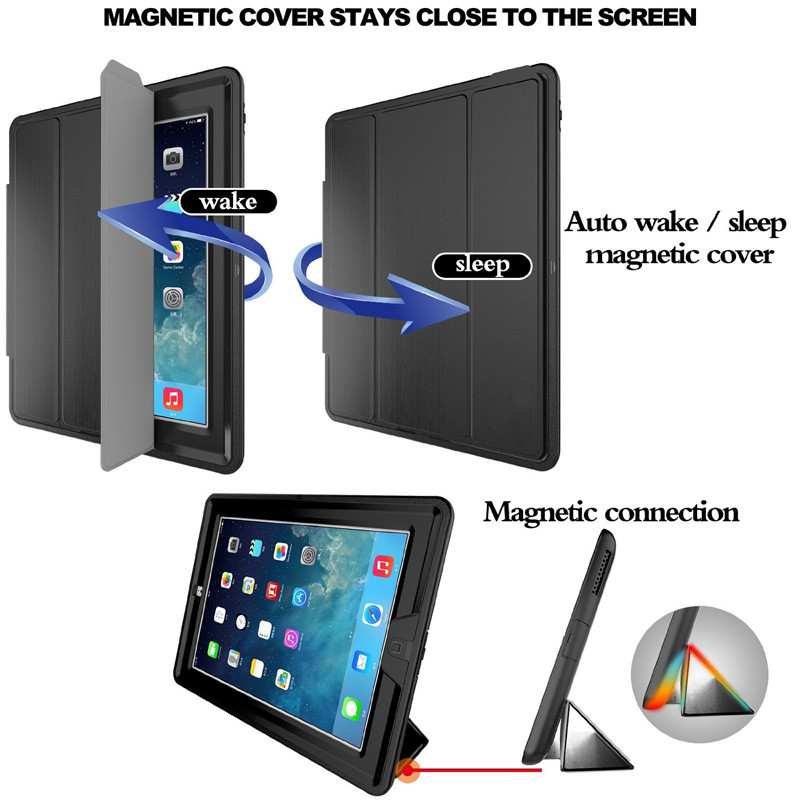 Armor Shockproof Heavy Duty Case For iPad Mini 1/2/3 Retina with Magnetic Smart Auto Wake / Sleep Function Silicone Hard Cover