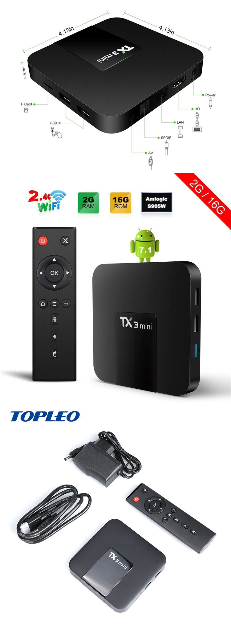 Günstigster neupreis Android 7.1.2 Amlogic S905W smart x96 android tv box 2 gb 16 gb 1 GB 8 GB