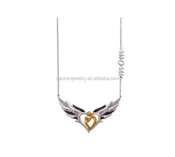 Mom Love Baby Pendant Necklace Double Angel Wings Necklace Customized  Jewelry - Buy Custom Name Number Necklace Jewelry,Anatomical Heart Pendant