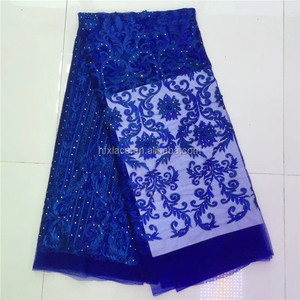 Wholesale Bridal Embroidery French Mesh Beaded Lace Royal Blue African Wedding Dress Net Lace Fabrics