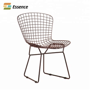 Tianjin Cafe Furniture Rose Gold Finish Metal Wire Dining Chairs