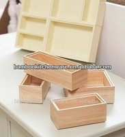 Stackable Bamboo/Wood drawer organizer (set of 6)