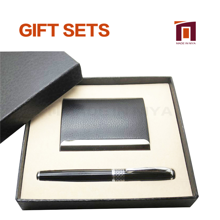 Cheap Office Card Case Pen Gift Set With Custom Gift Box