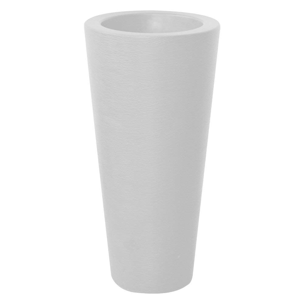 "ALMI Almog Tall Round Plastic Planter, 32 Inch Large Indoor Outdoor Round Plant Pot, Patio Deck or Garden Handmade Planters, Flower Pot, (D:15"" x H:31), White"