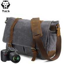 Waxed canvas leather clear water proof latest vintage digital design outdoor messenger camera bag