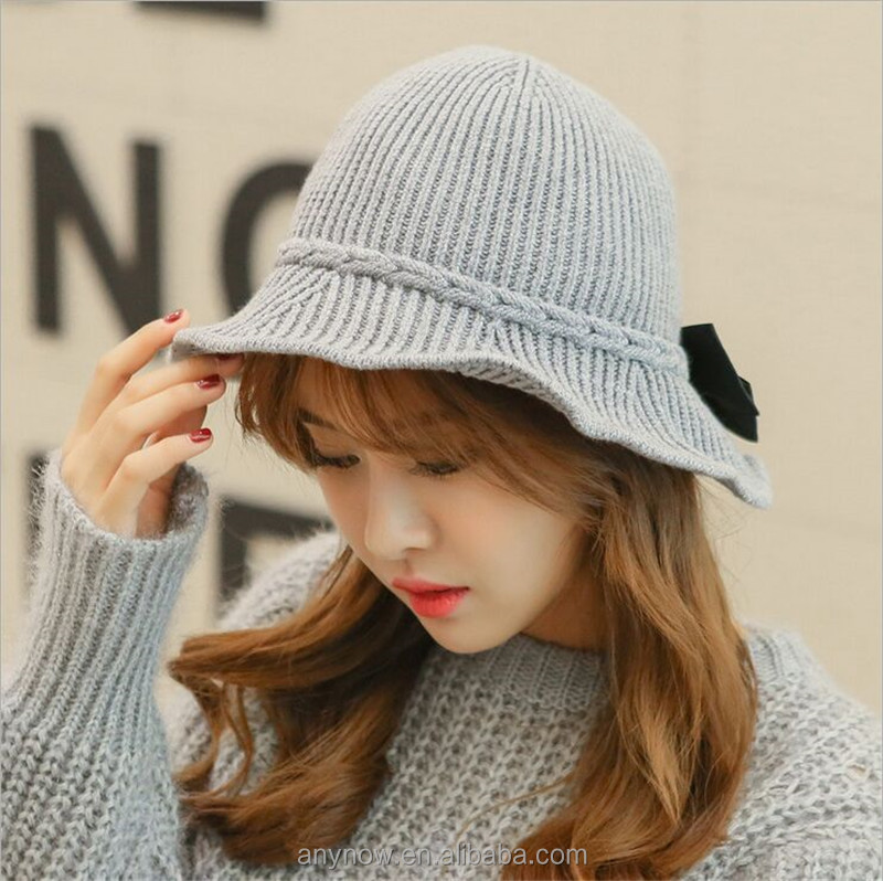 Easy Matching Korean Retro Style knitted Wool Women Bowknot Bucket Hat