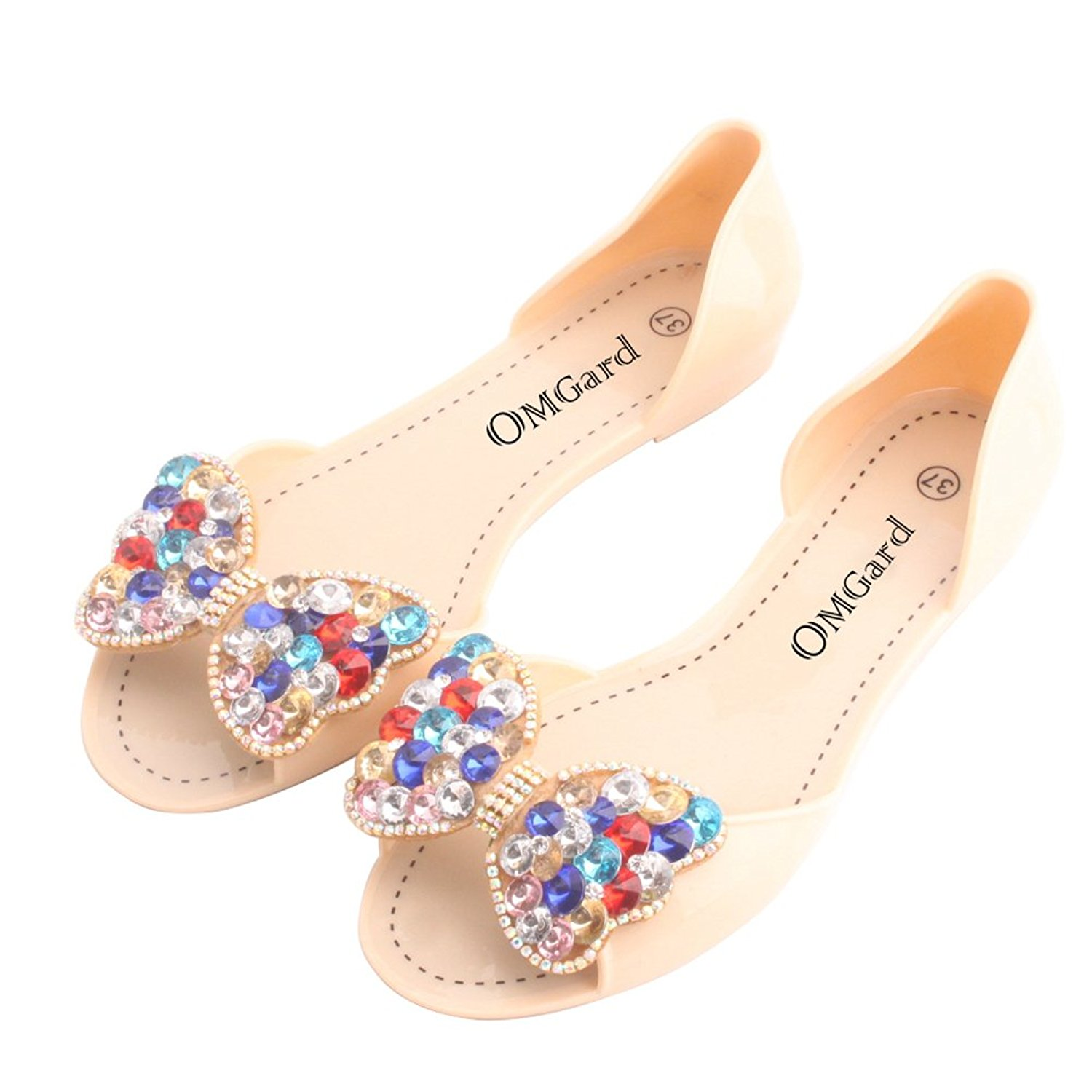 0e371b673 Get Quotations · Omgard Women Jelly Sandals Beach Jelly Shoes Summer Bow  Slippers Slip On Flats Shoes