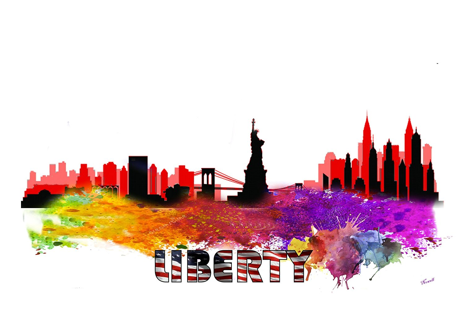 Statue Of Liberty New YOrk City Skyline City Silhouette Watercolor Art Print S/N Limited Edition (8 x 10) (8 x 10) (20 x 30) (11 x 14) (20 x 30)