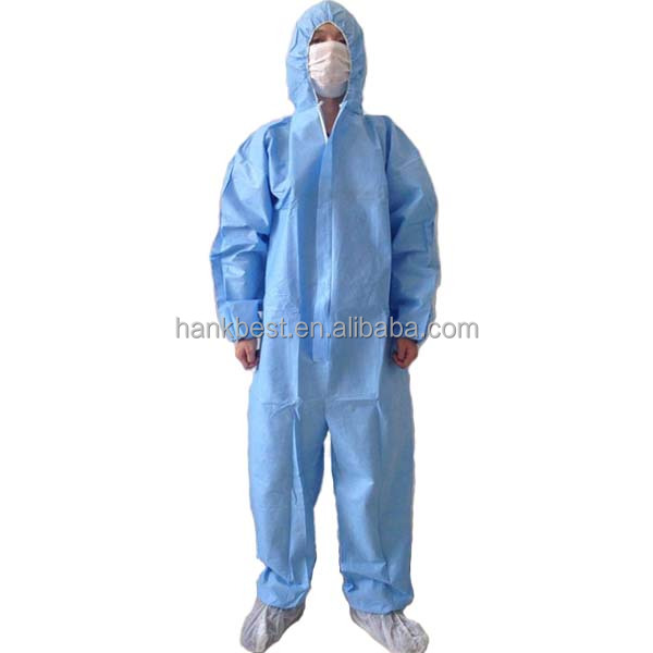 Disposable nonwoven blue PP coverall