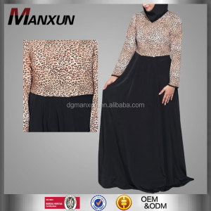 Fashion Leopard Print Dress Modest Islamic Abaya Lady Modern Abaya