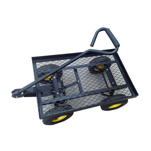 Steel Mesh 4 Wheels Garden Tool Cart Heavy Duty Dump Cart Dump Wagon