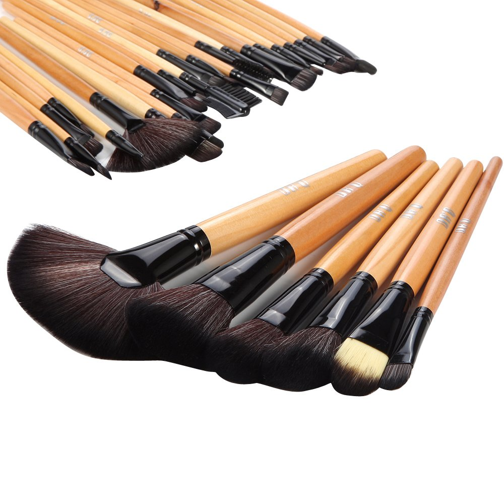 DRQ Professional Makeup Brush Set| Pro Cosmetic-32pc Studio Pro Makeup Make Up Cosmetic Brush Set Kit w/ Leather Case - For Eye Shadow, Blush, Concealer, Etc. (Black & Wood)